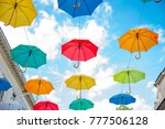 Colored Umbrellas On The Stree...