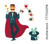 magician in red cloak with... | Shutterstock .eps vector #777510298