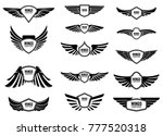 set of blank emblems with wings.... | Shutterstock .eps vector #777520318