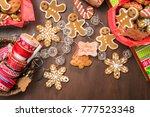 traditional gingerbread cookies ... | Shutterstock . vector #777523348