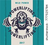 powerlifting barbell squat | Shutterstock .eps vector #777525784