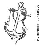 vintage anchor with rope  hand... | Shutterstock .eps vector #777525808