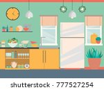 modern kitchen interior with... | Shutterstock .eps vector #777527254