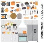 modern kitchen interior with...   Shutterstock .eps vector #777527260