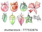 set with christmas balls and... | Shutterstock .eps vector #777532876