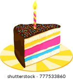 slice of colorful layered cake... | Shutterstock .eps vector #777533860