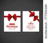christmas card with red ribbon... | Shutterstock .eps vector #777534184