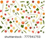 pattern of of flowers and... | Shutterstock . vector #777541753
