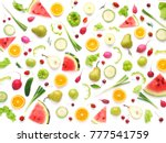 pattern of vegetables and... | Shutterstock . vector #777541759