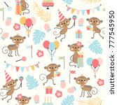 birthday seamless pattern with... | Shutterstock .eps vector #777545950