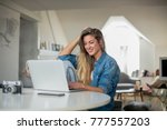 young beautiful woman works for ... | Shutterstock . vector #777557203