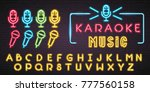 microphone set and alphabet... | Shutterstock .eps vector #777560158