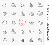 berries and fruits line icons... | Shutterstock .eps vector #777560479