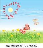 butterfly  fly over field in... | Shutterstock .eps vector #7775656