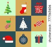 Christmas Icon Set Colured Icons