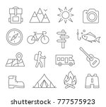camping line icons on white... | Shutterstock .eps vector #777575923