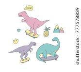 dinosaur pattern. vector ... | Shutterstock .eps vector #777578839