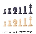 black and white chess game... | Shutterstock .eps vector #777590740