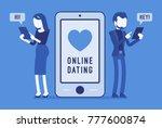 online dating chat. young man...   Shutterstock .eps vector #777600874