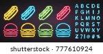 hot dog and burger neon light... | Shutterstock .eps vector #777610924