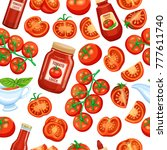 seamless pattern red tomato on... | Shutterstock .eps vector #777611740