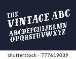 vector funny abc retro slanted... | Shutterstock .eps vector #777619039
