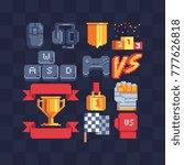 pixel art icons set. computer... | Shutterstock .eps vector #777626818