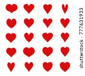 set of red hearts. vector. flat ... | Shutterstock .eps vector #777631933
