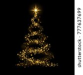 christmas tree card background. ... | Shutterstock . vector #777637699