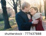 senior couple portrait huggingr ... | Shutterstock . vector #777637888