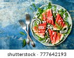 fresh summer grilled watermelon ... | Shutterstock . vector #777642193