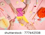 colorful pink background with... | Shutterstock . vector #777642538