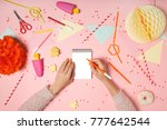 colorful pink background with... | Shutterstock . vector #777642544