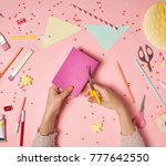 colorful pink background with... | Shutterstock . vector #777642550