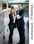 businessman and businesswoman... | Shutterstock . vector #777644563