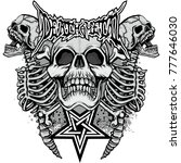 Gothic Coat Of Arms With Skull...