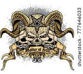 gothic coat of arms with skull  ...   Shutterstock .eps vector #777646033
