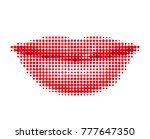 female lips in a halftone style.... | Shutterstock .eps vector #777647350