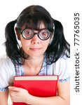 Nerd Student Girl on a white background - stock photo