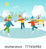 happy children skate on a...   Shutterstock .eps vector #777656983