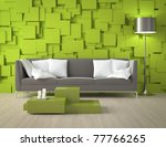 Interior design of a modern interior room with green wall made of blocks and furniture - stock photo