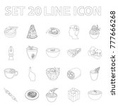vegetarian dish outline icons... | Shutterstock .eps vector #777666268