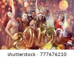 new 2019 year is coming  group... | Shutterstock . vector #777676210