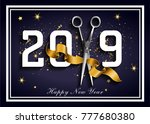 dark blue 2019 hairdresser ... | Shutterstock .eps vector #777680380