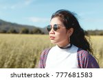 beautiful young asian woman on... | Shutterstock . vector #777681583