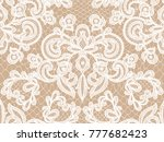 seamless beige lace background... | Shutterstock .eps vector #777682423
