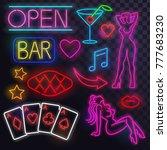 set of neon art  nightclub | Shutterstock .eps vector #777683230