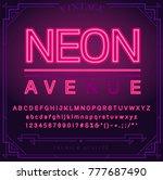 bright neon alphabet letters ... | Shutterstock .eps vector #777687490