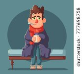 sick man. unhappy character.... | Shutterstock .eps vector #777698758