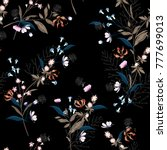 trendy  dark floral pattern in... | Shutterstock .eps vector #777699013